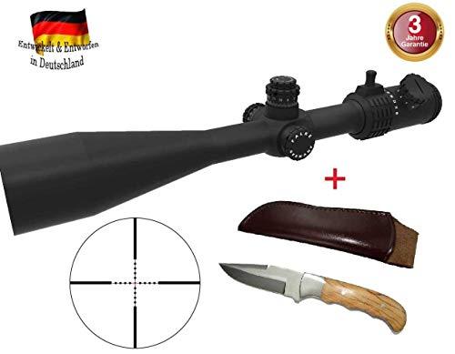 FALKE Zielfernrohr 10-40x56 TAC mit Mil Dot Absehen, beleuchtet, verbesserte Modell 2018, Schussfest für alle Kaliber + Jagdmesser