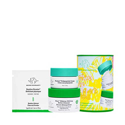 Drunk Elephant Nice to Meet You. Top-Notch Cleanser and Moisturizer Skin Care Bundle (Butter Cleanser, Peptide Moisturizer, Powder Exfoliant)