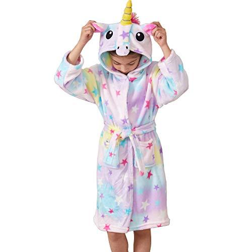 Msrlassn Kinder Weiches Einhorn Kapuzen Bademantel Nachtwäsche - Einhorn Geschenke für Mädchen (Stern, 10-11 Jahre)