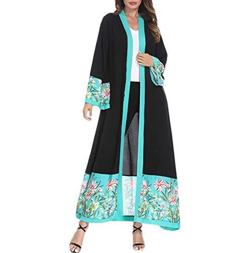YUYOUG Rétro Femmes Musulmanes Vêtements Islamiques Long Manteau Moyen-Orient Vintage Longue Robe Cardigan Ouvert Devant (XL, Black)