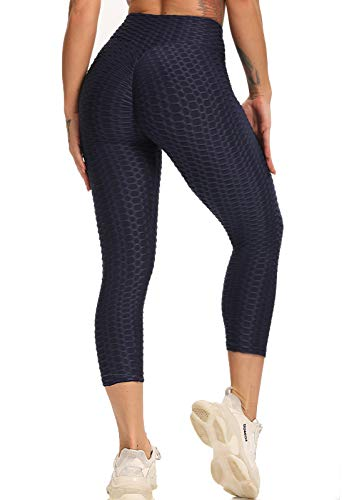 FITTOO Mallas 3/4 Leggings Capris Mujer Pantalones Yoga Alta Cintura Elásticos Super Suave #1 Azul Oscuro L