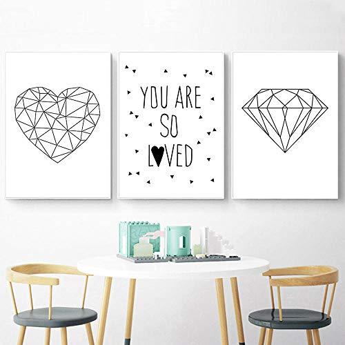 Dibujos animados diamante pared arte lienzo pintura niños cartel guardería carteles e impresiones corazón abstracto decoración de habitación de bebé 50x70cmx3 sin marco