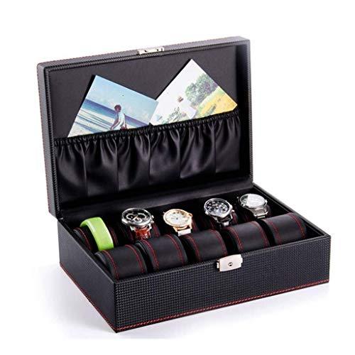 AMAFS Organizador de Caja de Reloj para Hombres con Tapa de Cristal y Almohadas Caja de Reloj de Lujo Happy House
