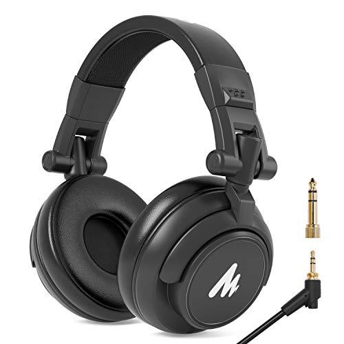 MAONO 密閉型モニターヘッドホン ヘッドフォン 有線 オーバーイヤーヘッドフォン 遮音 折り畳み可能 3.5mm/6.35mmプラグ付き 50mm径ドライバー搭載 PC/ノートパソコン/スマホ/タブレット/ミキシング/メガホン/DJなどに対応可能 AU-MH601