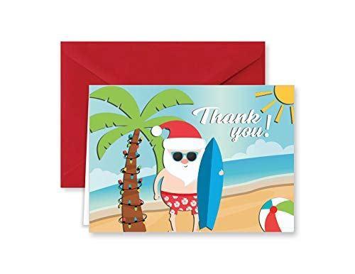 Paper Frenzy Surfing Santa Tropical Beach Christmas Holiday Thank You Note Cards with Red Envelopes - 25 pack