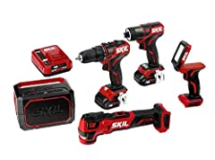 5 TOOL KIT—Brushless 12V 1/2 Inch Drill Driver, 1/4 Inch Hex Impact Driver, Oscillating Multicolor, Area Light and Bluetooth Speaker. Includes two 2.0Ah Lithium Batteries and one PW Jump Charger. LONGER RUN TIME & BATTERY LIFE—Industry leading PW Cor...