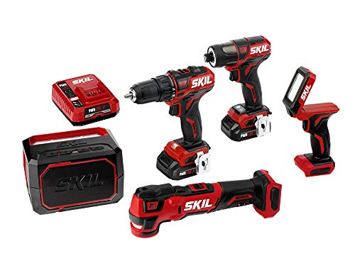 SKIL 5-Tool ComboKit: PWRCore 12 Brushless 12V Drill Driver, Impact Driver, Oscillating MultiTool, Area Light and Bluetooth Speaker, Includes Two 2.0Ah Lithium Batteries and PWRJump Charger - CB736801