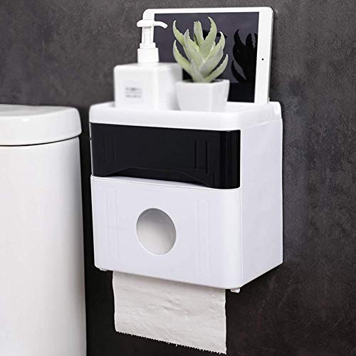 WTT toiletpapierhouder, dubbellaags tissue box, wandmontage, creatief waterdicht, punchvrij, zwart