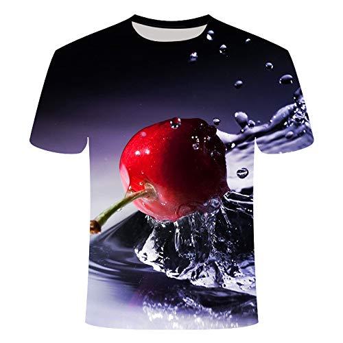 ASDWA 3D Impreso Camisetas,Patrones De Fruta Personalizados Vintage Negro Unisex Camisetas Impresas En 3D Transpirable Verano Cuello Redondo Camisetas Casuales Manga Corta para Niñas Adolescentes, S
