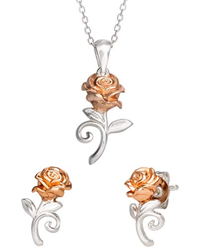 Disney Beauty and the Beast Sterling Silver Belle Rose Stud Earrings and Necklace Set, Official License