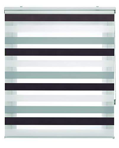 Blindecor Lira Estor Enrollable Doble Tejido, Noche y día,Tricolor 140 x 180 cm, Color Marron Gris, Poliéster