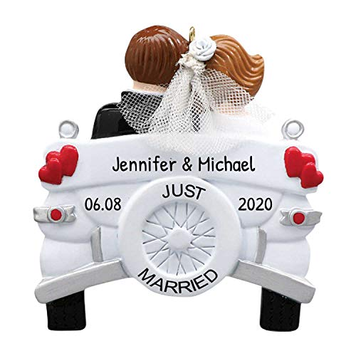 Personalized Vintage Wedding Car Christmas Tree Ornament 2020 - Just Married Brunette Bride Groom Couple Vehicle Heart Real Tulle Ceremony Newlywed Romantic Love Gift Year - Free Customization