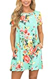 Womens Casual T Shirt Dresses Swing Short Sleeve Floral Printed Loose Fit Flowy Cotton Shift Dress M Green