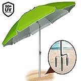 BAKAJI Ombrellone da Mare Spiaggia Giardino 210 cm con Palo in Alluminio Rivestimento Tessuto Anti UV con...