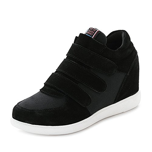 Jamron Mujer Moda Tacón de Cuña Oculto Zapatillas Zapatos del Elevador Cómoda Gamuza & Tela Zapatos de Deporte Negro 5516 EU39.5