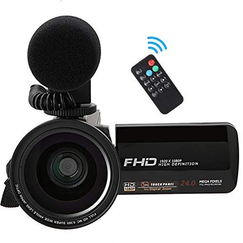 KUIDAMOS Cámara de batería Recargable HD 1080P Función de Disparo de autofoto de 64 GB(Standard + Microphone + 0.39X Wide-Angle Lens)