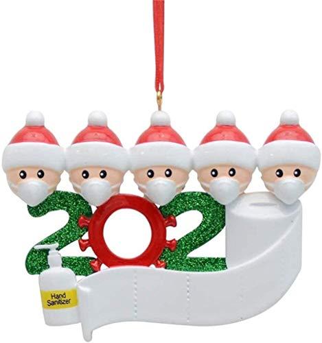 CHIVENIDO 2020 Christmas Ornaments Quarantine, Personalized Quarantine Survivor Family Christmas Decorating Kits, Creative Hanging Ornament for Christmas Decorations Tree Home Decor (Family of 5)
