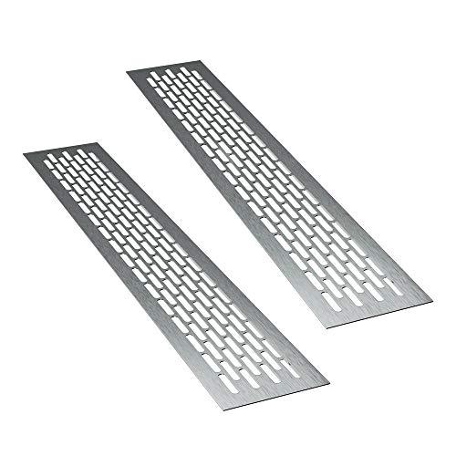 sossai® Aluminium Lüftungsgitter - Alucratis (2 Stück) | Rechteckig - Maße: 48 x 8 cm | Farbe: Inox | gebürstet