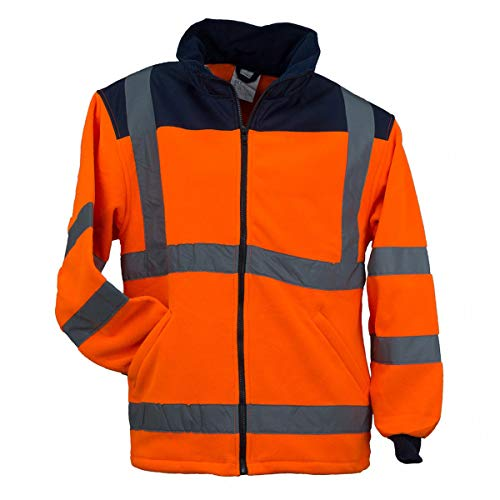 URG Fleece Warnjacke Winterjacke Warnschutzjacke Arbeitsjacke Orange (POL-HSV-OR) (XL)