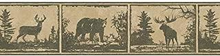 Chesapeake HTM48501B Moss Green Wild Metalworks Lodge Wallpaper Border