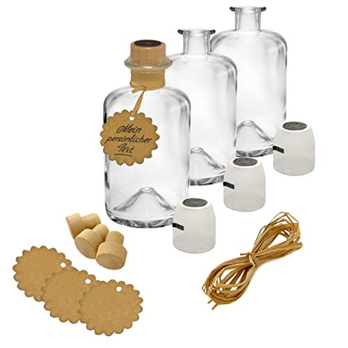 3x Apothekerflaschen Glas Geschenk Komplettset leer 350 ml Anhänger Kapsel Siegel schwarz Korken Bast zum selbst befüllen VERSAND INNERHALB 24 STD!