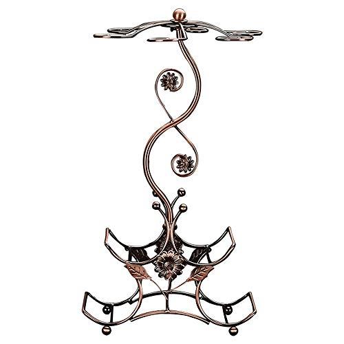 Lpinvin Weinregal Metall-Tischplatte Freistehende stapelbare Weinglasregal Countertop 4 Weinflaschen Halter Display Stand Metall Weinregal (Farbe : Bronze, Size : 25.7 * 16.7 * 48cm)
