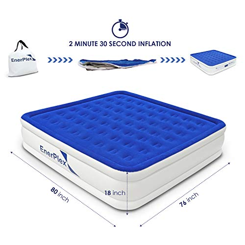 EnerPlex Premium 2019 Upgraded Dual Pump Luxury King Size Air Mattress Airbed with Built in Pump Raised Double High...