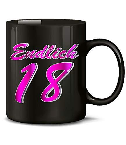 Endlich 18 Volljährig Tasse Becher Kaffeebecher Kaffeetasse Geburtstag Geschenk zum Geburtstagsgeschenk für Mädchen geburtstagsdeko Deko Happy Birthday Artikel Ideen