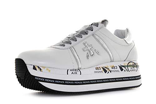 PREMIATA Sneakers Donna Beth 4517 Pelle Tessuto Tecnico Bianco