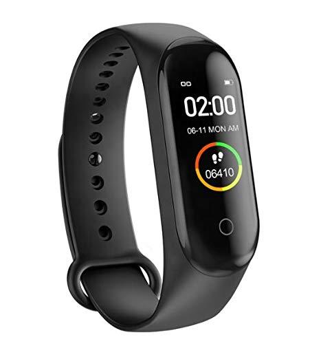 M4 Fintess-Tracker, Smartwatch, Blutdruck/Herzfrequenz-Monitor, Schrittzähler, Sportarmband, Farbdisply Schwarz