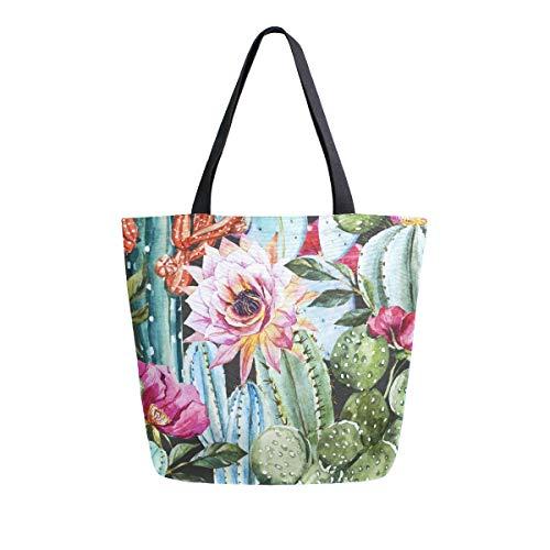Naanle Cactus Canvas Tote Bag Large Women Casual Shoulder Bag Handbag, Watercolor Floral Cactus Reusable Multipurpose Heavy Duty Shopping Grocery Cotton Bag for Outdoors.