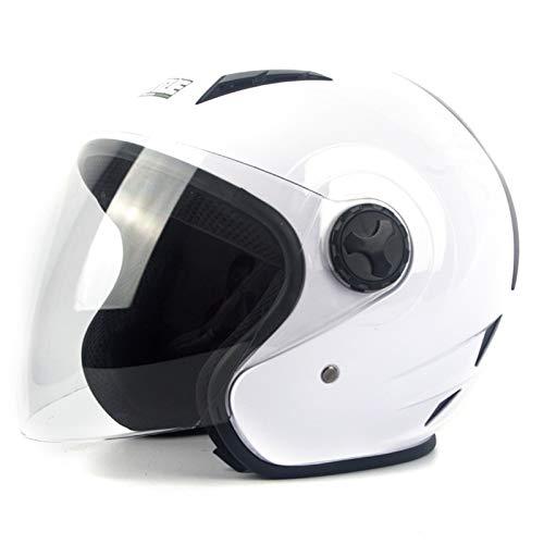 YZHY Casco de Moto Abierto,Estilo Retro nostálgico,Casco de Scooter con Visera Solar Doble,anticolisión para Proteger la Seguridad Vial de los usuarios (Lente Transparente)