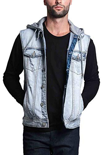 Victorious Detachable Hood Denim Jean Vest Jacket DK108 - Distressed Ice - 4X-Large - GG1F