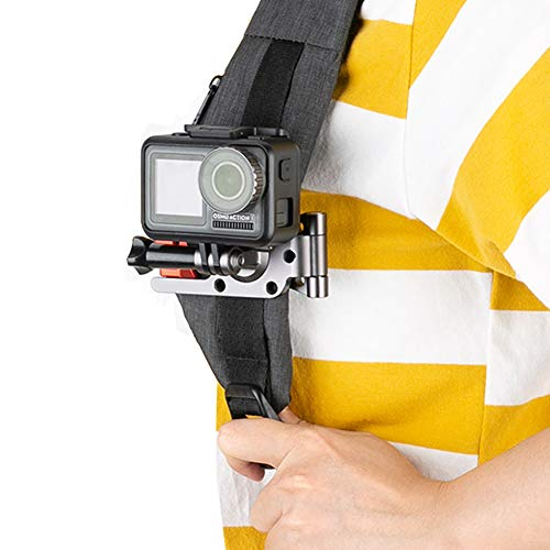 NICEYRIG Backpack Shoulder Strap Mount, Strap Mounting Clamp for GoPro Hero 5/6/7/8, DJI Osmo Action, Xiaomi YI 4K Action and Sports Camera - 338