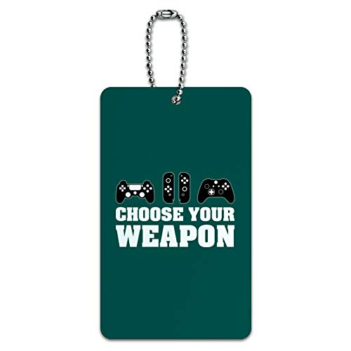 Choose Your Weapon Controllers Games Gamer Luggage Card Suitcase Carry-On ID Tag