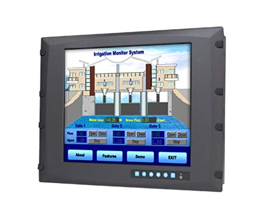 (DMC Taiwan) 8U Rackmount 17 inches SXGA Industrial Monitor with Resistive Touchscreen, Direct-VGA and DVI Ports, and Wide Operating Temperature Range