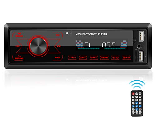 Single Din Car Stereo with Bluetooth,WZTO Car Stereo Radio Receiver,Multicolor Backlight, 1 Din FM Car Radio Touch Screen MP3 Player Support USB, SD Card,AUX in, with Wireless Remote Control(12V)