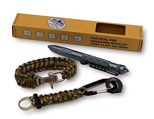 Paracord Armband, Schlüsselanhänger und Tactical Pen Geschenkset | Stift aus Flugzeugaluminium für Selbstverteidigung und Survival | Paracord Handgefertigter für Notfälle in der freien Natur (Camo)