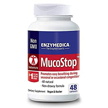 Enzymedica MucoStop Non-Drowsy Enzyme Support for Congestion Relief 48 Capsules  FFP