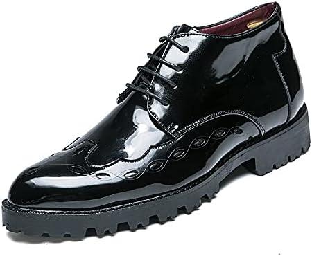 Nicwagrlnsnjx Black Dress Shoes, Men's Wingtip Carved Oxford Wedding Shoes Patent Leather Men's Shoes Men's Cowboy Ankle Boots (Color : Black, Size : 6)