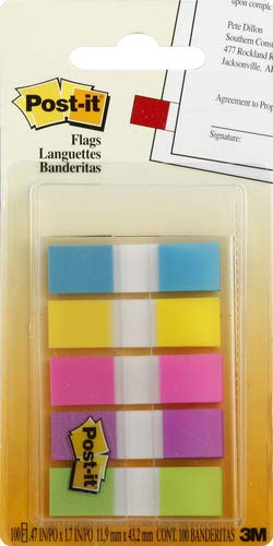 Post-It 624185 Small Index Flags, Multi-Coloured, Pack of 100