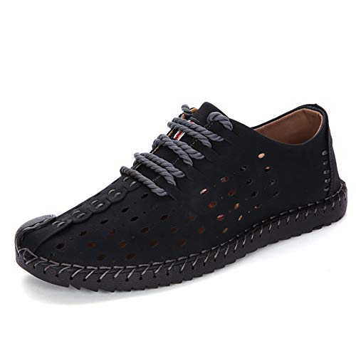 Men's Premium Leather Casual Lcae-up Loafers Breathable Driving Shoes Fashion Slipper Men's Hemp Loafer Flats Boat Shoes Black