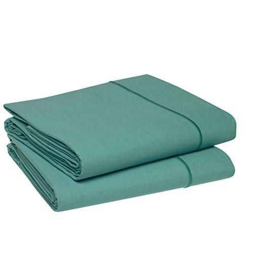 Blanc des Vosges Uni Percale Drap Coton Bleu Canard 280 x 320 cm
