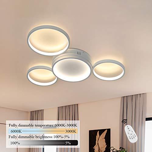 ZMH LED Deckenlampe Modern 4 Flammig in Ring-Design Deckenleuchte dimmbar mit Fernbedienung 52W Innen Wohnzimmerlampe aus Aluminium in Farbe weiß für Schlafzimmer Wohnzimmer Flur Büro Arbeitszimmer