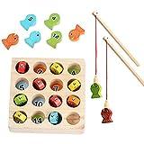 Juego de pesca de madera a partir de 2, 3 y 4 años, juego de habilidad motora para niños, Montessori, madera, juguete educativo, puzle de madera, regalo para niñas y niños