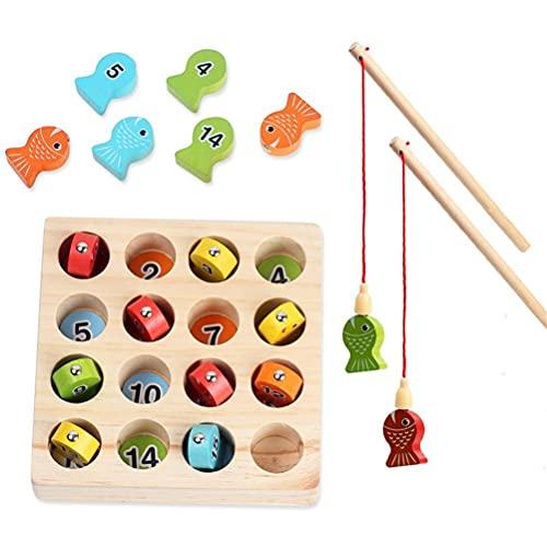 Angelspiel Holz ab 2 3 4 Jahre, Motorikspielzeug Fisch Angel Spiel für Kinder, Montessori Motorik Holz Spielzeug Lernspielzeug Holzpuzzle Fische Angeln Geschenk Für Mädchen und Jungen