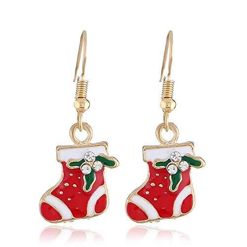 RONGW JKUNYU Europa y los Estados Unidos de Navidad creativos largos pendientes de aceite de gota simple pequeños calcetines frescos de Navidad pendientes tendencia joyería 3 pares