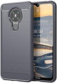 نوكيا 5.3 غطاء حافظة هاتف من السيليكون الناعم من البولي يوريثان اللدن بالحرارة مضاد للإسقاط بالكامل (رمادي)