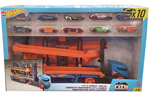 Hot Wheels Lift & Launch Hauler With 10 Vehicles (Netcount 10 Vehicles), 10Count