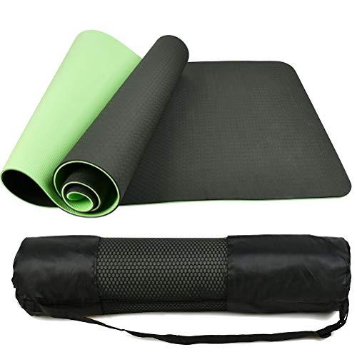TIMESETL Estera de Yoga TPE Premium, Colchoneta de Deporte y Ejercicio Grande Yoga Pilates con Correa de Transporte 183cm x 60cm x 1cm, Estera de Gimnasia Verde